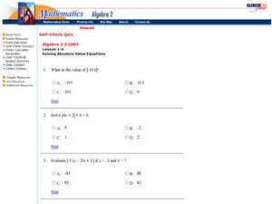 Absolute Value Equations Worksheet