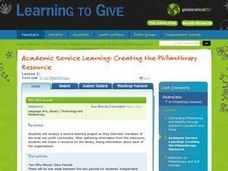 Academic Service Learning: Creating the Philanthropy Resource Lesson Plan