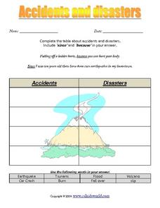 Accidents and Disorders Worksheet