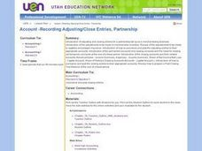 Account-Recording Adjusting/Close Entries, Partnership Lesson Plan