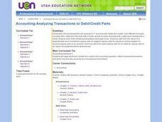 Accounting - Analyzing Transactions to Debit/Credit Parts Lesson Plan