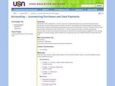Accounting -- Journalizing Purchases and Cash Payments Lesson Plan