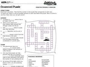acid rain crossword puzzle 5th 6th grade worksheet lesson planet. Black Bedroom Furniture Sets. Home Design Ideas