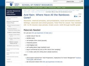 Acid Rain: Where Have All the Rainbows Gone? Lesson Plan