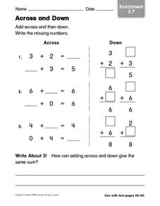 Across and Down Worksheet