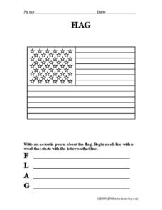 Acrostic Poem-Flag Worksheet