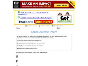 Acrostic Poem: Space Worksheet