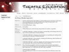 Acting Shakespeare Lesson Plan