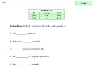 Action and Be Verbs Worksheet