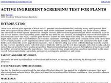 Active Ingredient Screening Test for Plants Lesson Plan