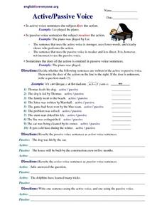 Active/Passive Voice 5th - 8th Grade Worksheet | Lesson Planet
