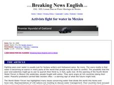 Activists Fight for Water in Mexico-Easier Lesson Worksheet