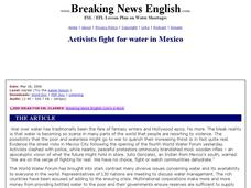 Activists Fight for Water in Mexico-Harder Lesson Worksheet