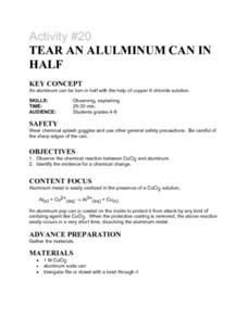 Activity #20 Tear An Aluminum Can In Half Lesson Plan