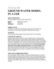 Activity #4 Ground Water Model In a Jar Lesson Plan