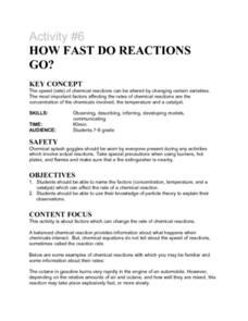 Activity #6 How Fast Do Reactions Go? Lesson Plan
