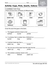 Activity: Cups, Pints, Quarts, and Gallons Worksheet