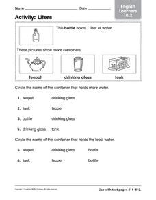 Activity: Liters English Learners 18.2 Worksheet