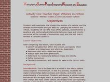 Activity One Teacher Page: Vehicles In Motion Lesson Plan