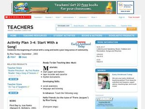 Activity Plan 3-4: Start With a Song! Lesson Plan