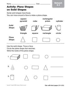 Activity: Plane Shapes on Solid Shapes: Reteach Worksheet