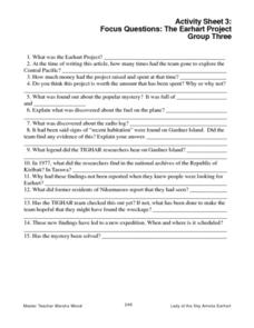 Activity Sheet 3:  Focus Questions:  The Earhart Project Worksheet