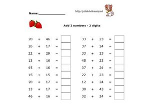 Add 2 Numbers--2 Digits Worksheet