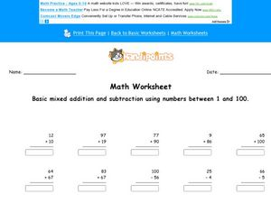 Add and Subtract: 1-100 Worksheet