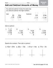 Add and Subtract Amounts of Money Reteach 15.5 Worksheet