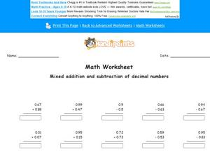 Add and Subtract Decimal Numbers Worksheet