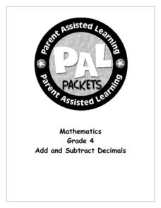 Add and Subtract Decimals Worksheet
