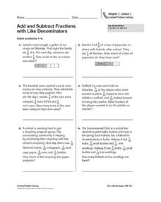 add and subtract fractions with like denominators 2 word problems 4th 5th grade worksheet. Black Bedroom Furniture Sets. Home Design Ideas