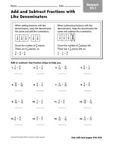 Add and Subtract Fractions with Like Denominators - Reteach Worksheet