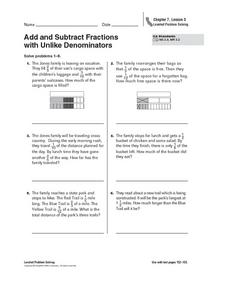 Add and Subtract Fractions with Unlike Denominators Worksheet