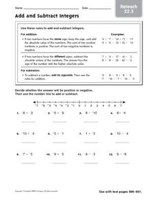 Add and Subtract Integers - Reteach 22.5 Worksheet