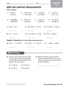 Add and Subtract Measurements: Practice Worksheet
