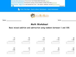 Add and Subtract Numbers 1-100: Worksheet 5 Worksheet