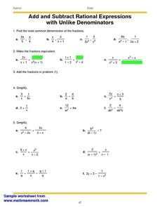 Printables Adding And Subtracting Rational Expressions Worksheet add and subtract rational expressions with unlike denominators 6th worksheet