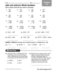 Add and Subtract Whole Numbers practice 2.3 Worksheet