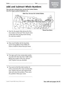 Add and Subtract Whole Numbers: Problem Solving Worksheet