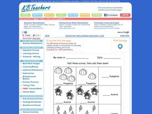 Add Fall Pictures Across and Down Worksheet