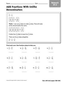 Add Fractions With Unlike Denominators: Reteach Worksheet