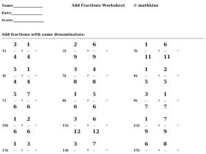 Add Fractions Worksheet Worksheet