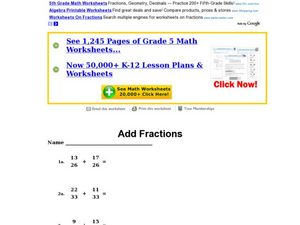 Add Fractions Worksheet