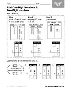 Add One-Digit Numbers to Two-Digit Numbers Worksheet