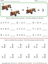 math worksheet : mental recall of addition and subtraction facts to 10 worksheets  : Addition And Subtraction Facts To 10 Worksheets