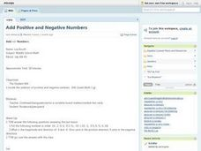 Add Positive And Negative Numbers Lesson Plan