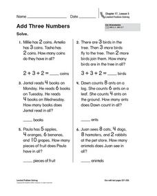 Add Three Numbers - Leveled Problem Solving Worksheet