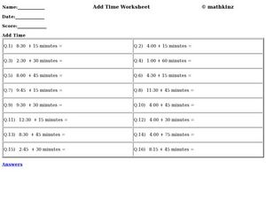 Add Time Worksheet
