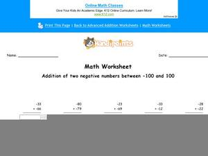 Add Two Negative Numbers Worksheet